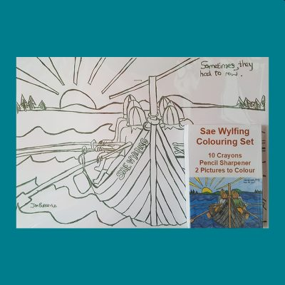 Sae Wylfing Colouring picture with crayons