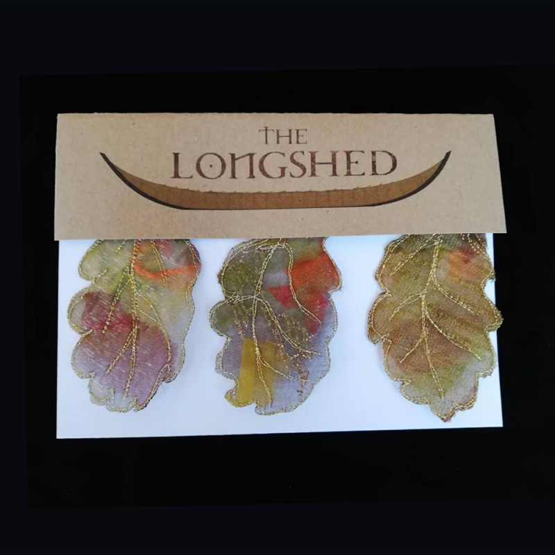 Fabric hand made oak leaves in a Longshed gift box.